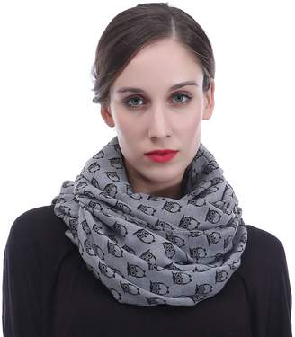 Lina & Lily Vintage Owl Print Infinity Scarf for Women Lightweight