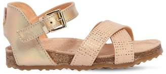 Ocra Metallic Leather Crisscross Sandals