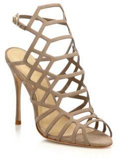 Schutz Juliana Suede Caged Sandals $190 thestylecure.com