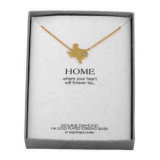 FINE JEWELRY Diamond Accent 14K Yellow Gold over Silver Texas Pendant Necklace