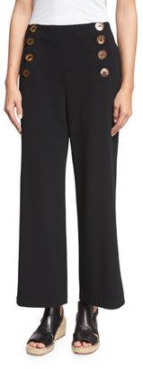 Derek Lam 10 Crosby Cropped Wide-Leg Sailor Pants, Black $495 thestylecure.com