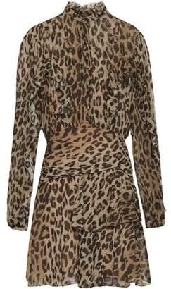 Nicholas Ruffled Leopard-print Silk-georgette Mini Dress
