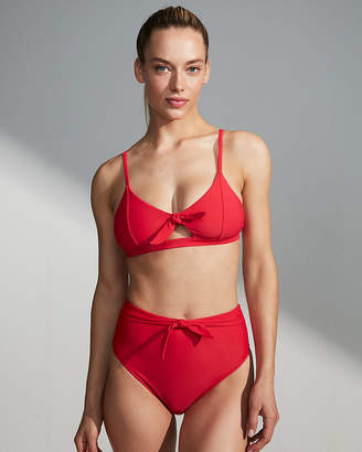 Express Tie Front Banded Triangle Bikini Top