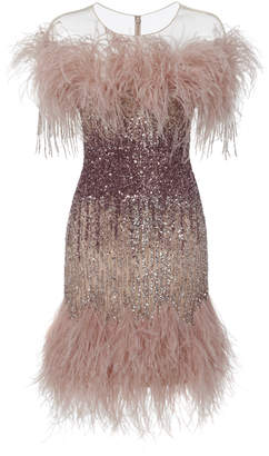 Pamella Roland Illusion Neckline Ostrich Feather And Sequin Embroidered Cocktail Dress