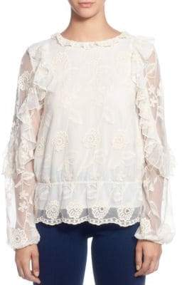 Catherine Malandrino Ilusion Floral-Lace Blouse