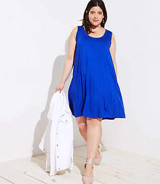 LOFT Plus Mixed Media Sleeveless Swing Dress