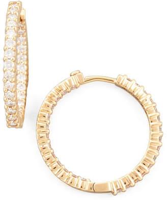 Roberto Coin 25mm Rose Gold Diamond Huggie Hoop Earrings, 1.53ct