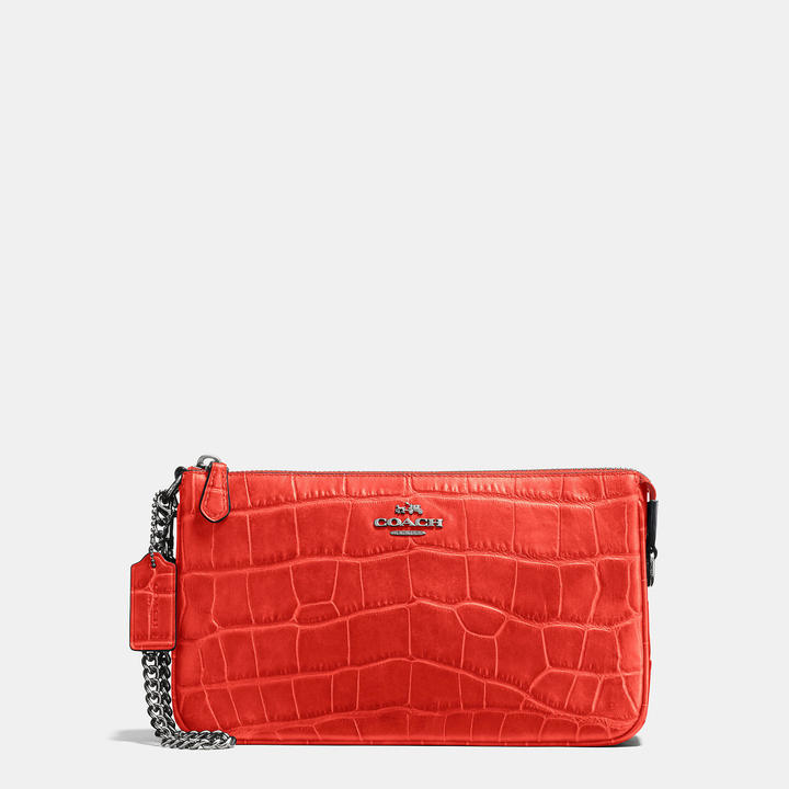 Coach   COACH Coach Nolita Wristlet 24 In Croc Embossed Leather