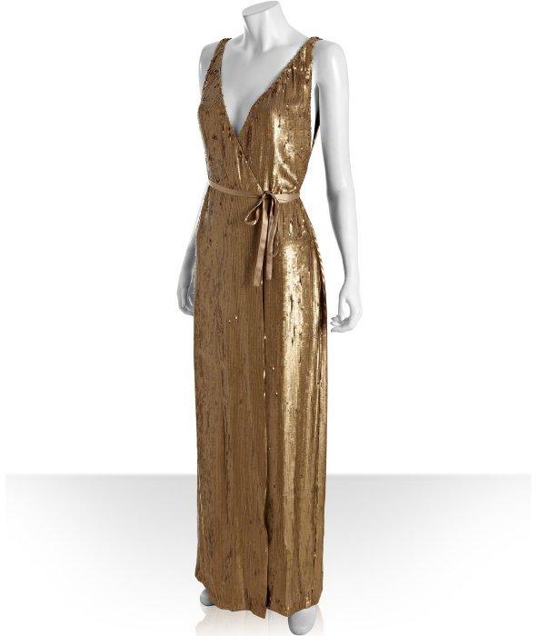 Diane von Furstenberg gold sequined silk 'Clarice' evening wrap gown