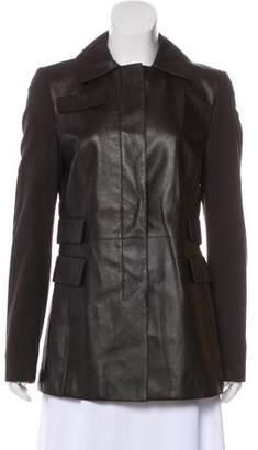 Akris Punto Leather Button-Up Jacket