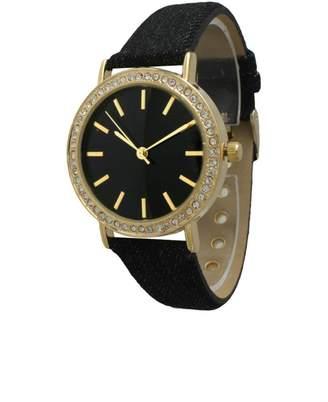 Olivia Pratt Rhinestone Denim Watch