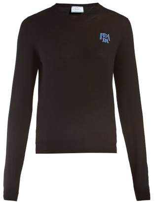 Prada Logo Intarsia Wool Sweater - Womens - Black
