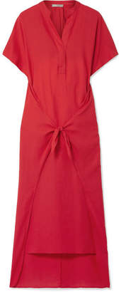 Vince Tie-front Cotton-twill Midi Dress - Red