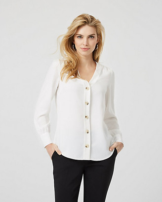 Le Château Crepe Button Front Long Sleeve Blouse