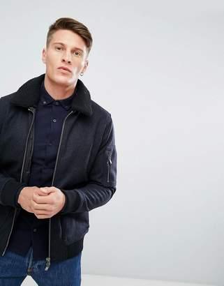 Jack and Jones Wool Jacket With Borg Collar