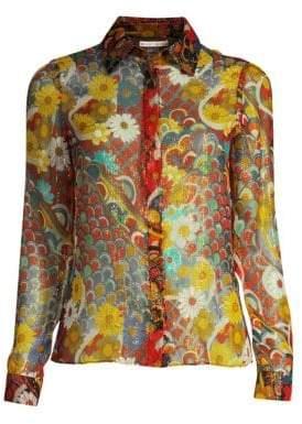 Alice + Olivia Women's Willa Metallic Floral Shirt - Floral Multi - Size XS