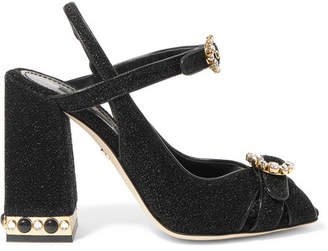 Dolce & Gabbana Crystal-embellished Lurex Slingback Sandals - Black