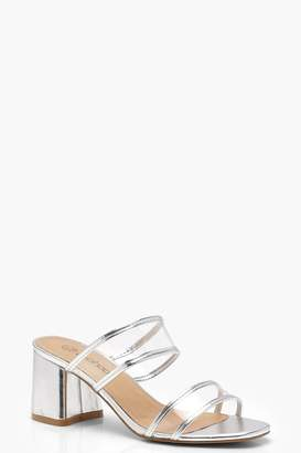 boohoo Double Clear Band Mules
