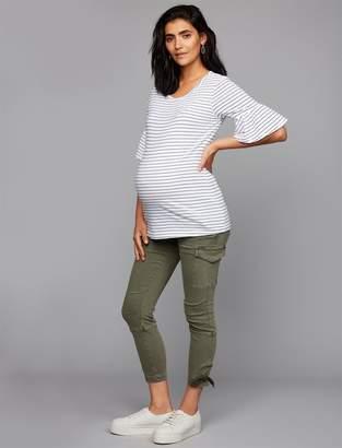 A Pea in the Pod Twill Skinny Leg Utility Maternity Pants