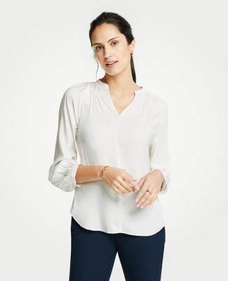 Ann Taylor Smocked V-Neck Blouse