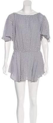 MLM Label Striped Off-The-Shoulder Dress White Striped Off-The-Shoulder Dress