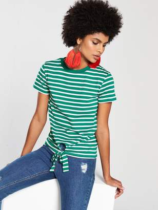 Very Tie Front Stripe Top - Green/White