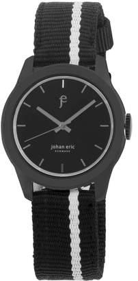 Johan Eric Men's Naestved Quartz Black Canvas Strap Watch