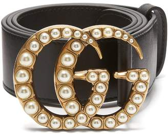 Gucci Faux pearl-embellished GG-logo 4cm leather belt