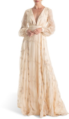 Joanna August Gwen Embroidered Long Sleeve Wedding Dress