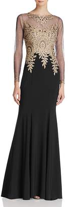 Avery G Embroidered-Bodice Gown