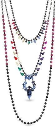 Steve Madden Multi-Cut Rhinestone Triple Strand Necklace