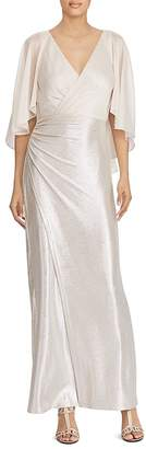 Lauren Ralph Lauren Metallic Faux-Wrap Gown