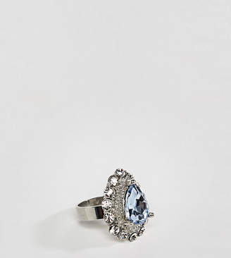 Asos DESIGN Curve ring in vintage style pale blue jewel and crystal in silver