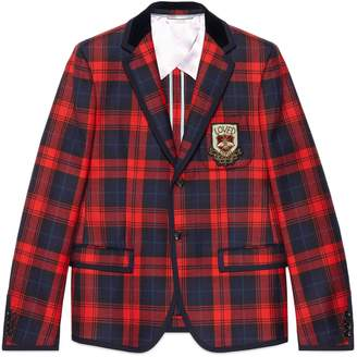 Gucci Tartan wool jacket with crest appliqué