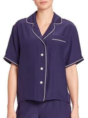 Sleepy Jones Silk Corita Short-Sleeve Pajama Shirt