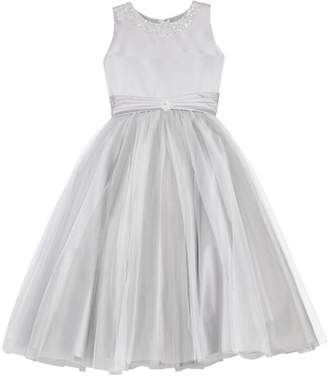 Joan Calabrese FOR MON CHERI Beaded Satin & Tulle First Communion Dress (Toddler Girls, Little Girls & Big Girls)