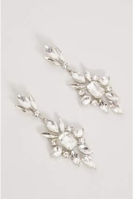 Quiz Silver Diamante Spike Detail Earrings
