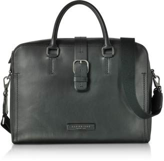 The Bridge Black Leather Double Handle Briefcase w/Detachable Shoulder Strap