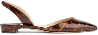 Paul Andrew Rhea Printed Patent-leather Point-toe Flats - Dark brown
