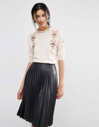 Oasis Embroidered Frill Knit Sweater $53 thestylecure.com