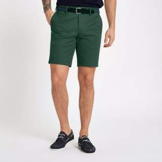 River Island Green belt detail slim fit shorts