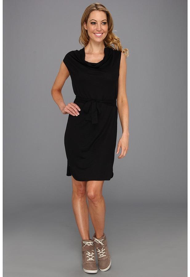 Lacoste Cap Sleeve Linen Slubby Belted T-Shirt Dress (Black) - Apparel