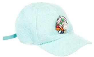 Shourouk Woven Jewel-Embellished Cap
