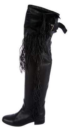See by Chloe Fringe-Trimmed Leather Boots