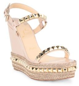 Christian Louboutin Cataclou 120 Studded Patent Leather Espadrille Wedge Sandals $795 thestylecure.com