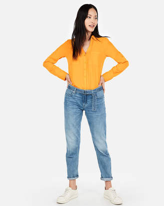 Express Slim Fit Neon Portofino Shirt