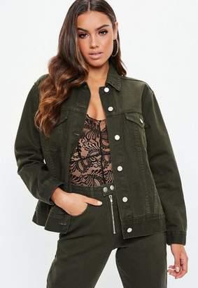 Missguided Khaki Oversized Denim Jacket Co-Ord