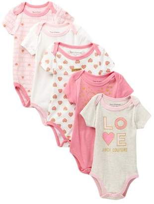 Juicy Couture Heart Bodysuits - Pack of 5 (Baby Girls)