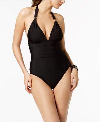 Calvin Klein Liquid Shirred Halter Tummy-Control One-Piece Swimsuit Women's Swimsuit