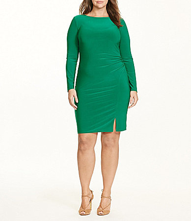 Lauren Ralph LaurenLauren Ralph Lauren Plus Round Neck Ruched Solid Jersey Sheath Dress